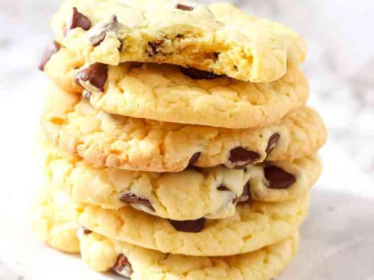 Soft Chocolate Chip Cookies {Made with Cake Mix}