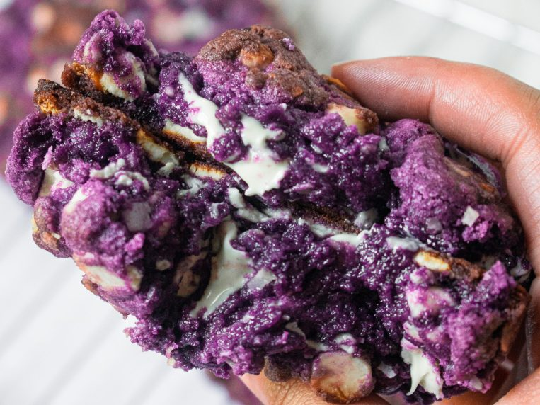 Levain-Style White Chocolate Coconut Ube Cookies (Small Batch