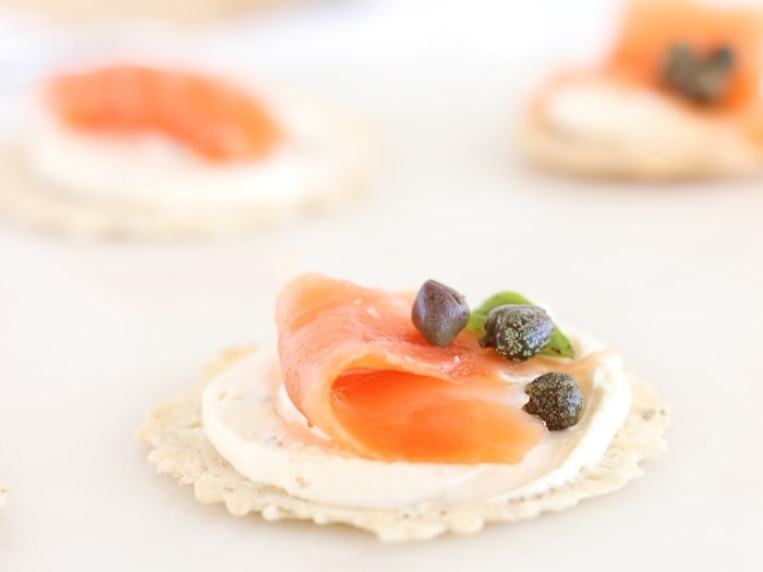 Crackers With Cream Cheese And Salmon
