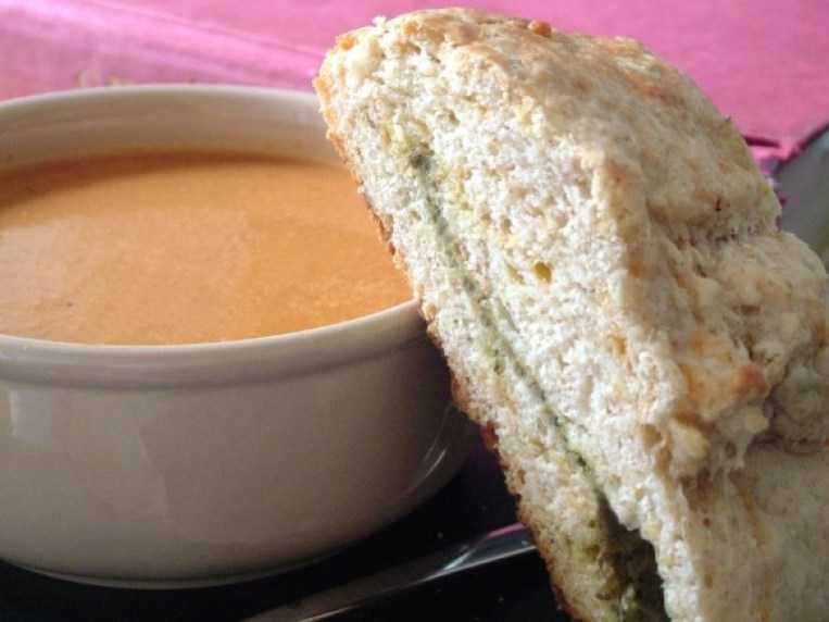Day 141: Roasted Tomato Soup and Pesto & Cheese Slab Scones