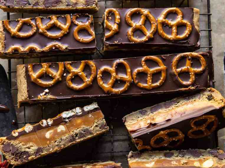 Salted Pretzel Chocolate Chip Cookie Snickers Bars.