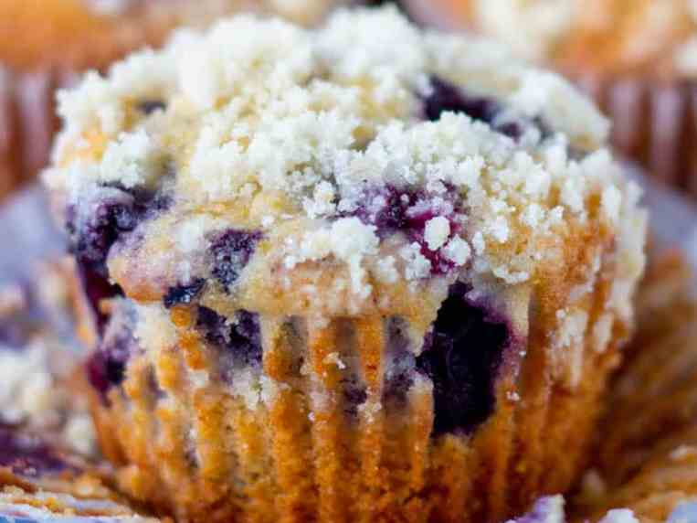 Blueberry Streusel Muffins with Homemade Crumb Topping